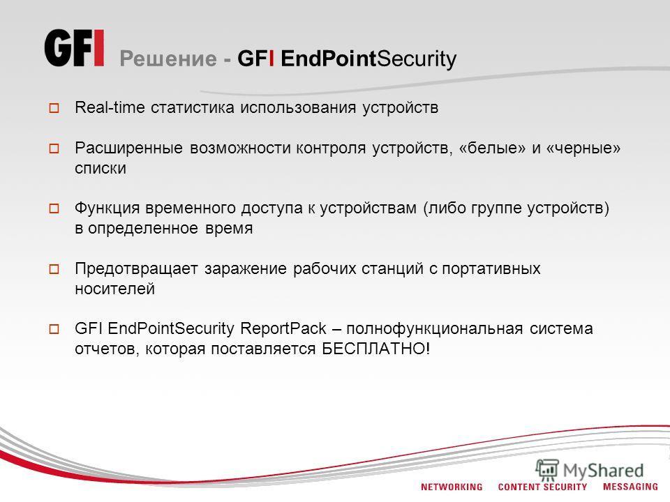 Решение - GFI EndPointSecurity Real-time статистика использования устройств Расширенные возможности контроля устройств, «белые» и «черные» списки Функция временного доступа к устройствам (либо группе устройств) в определенное время Предотвращает зара