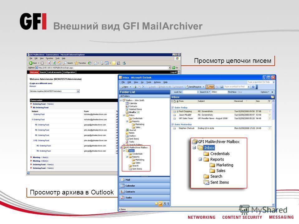 Просмотр цепочки писем Просмотр архива в Outlook Внешний вид GFI MailArchiver