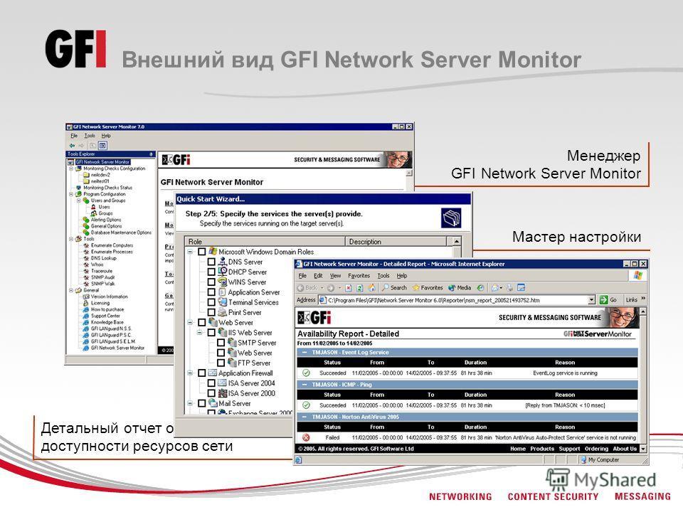 Менеджер GFI Network Server Monitor Мастер настройки Детальный отчет о доступности ресурсов сети Внешний вид GFI Network Server Monitor