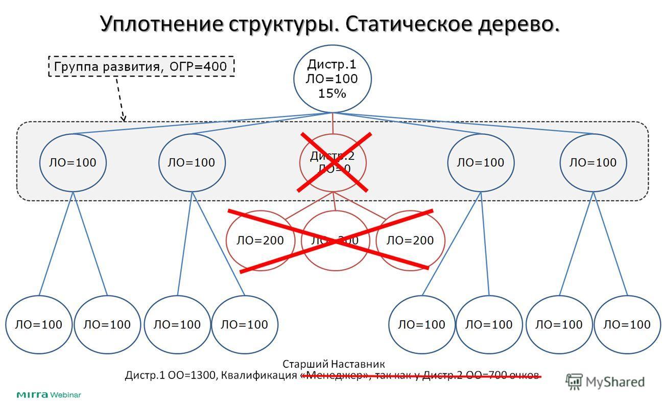 Уплотнение структуры. Статическое дерево. Дистр.1 ЛО=100 15% Дистр.2 ЛО=0 ЛО=100 ЛО=200ЛО=300ЛО=200 Дистр.1 ОО=1300, Квалификация «Менеджер», так как у Дистр.2 ОО=700 очков Группа развития, ОГР=400 Старший Наставник
