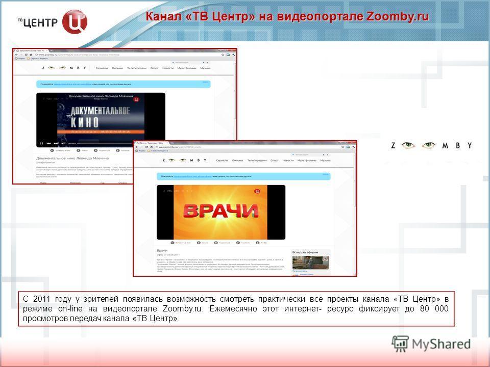 Канал «ТВ Центр» на видеопортале Zoomby.ru С 2011 году у зрителей появилась возможность смотреть практически все проекты канала «ТВ Центр» в режиме on-line на видеопортале Zoomby.ru. Ежемесячно этот интернет- ресурс фиксирует до 80 000 просмотров пер
