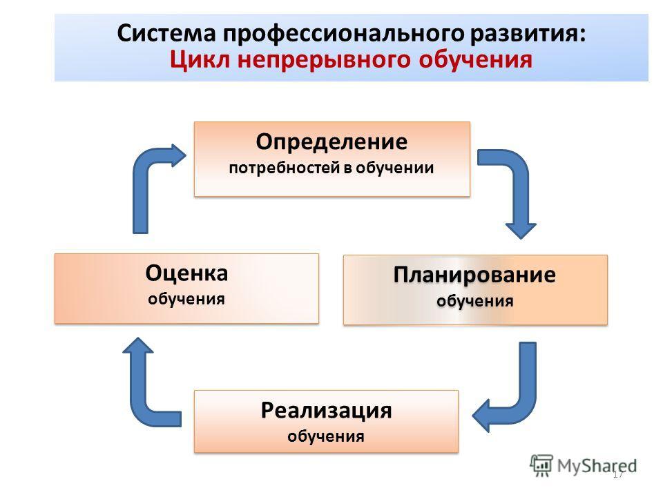 17 Система профессионального развития: Цикл непрерывного обучения Определение потребностей в обучении Определение потребностей в обучении Планирование обучения Планирование обучения Реализация обучения Реализация обучения Оценка обучения Оценка обуче
