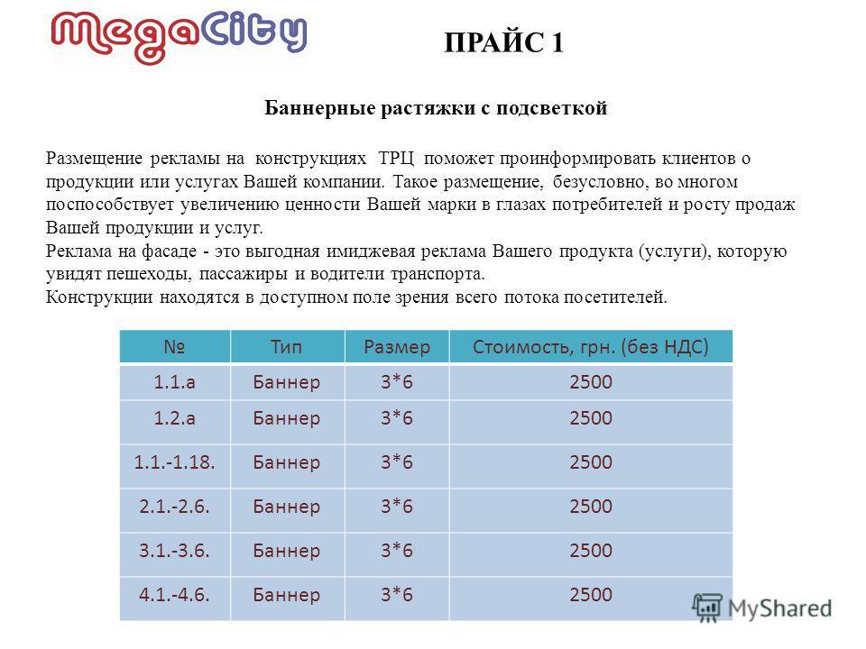 ПРАЙС 1 ТипРазмерСтоимость, грн. (без НДС) 1.1.аБаннер3*62500 1.2.аБаннер3*62500 1.1.-1.18.Баннер3*62500 2.1.-2.6.Баннер3*62500 3.1.-3.6.Баннер3*62500 4.1.-4.6.Баннер3*62500 Баннерные растяжки с подсветкой Размещение рекламы на конструкциях ТРЦ помож