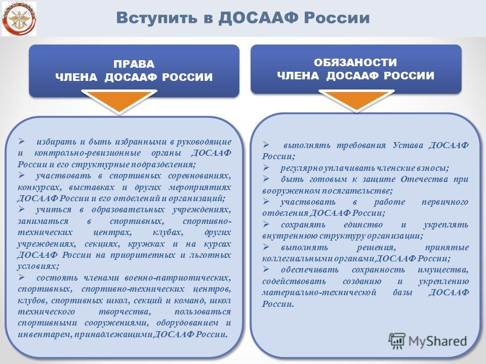 Вступить в ДОСААФ России избирать и быть избранными в руководящие и контрольно-ревизионные органы ДОСААФ России и его структурные подразделения; участвовать в спортивных соревнованиях, конкурсах, выставках и других мероприятиях ДОСААФ России и его от