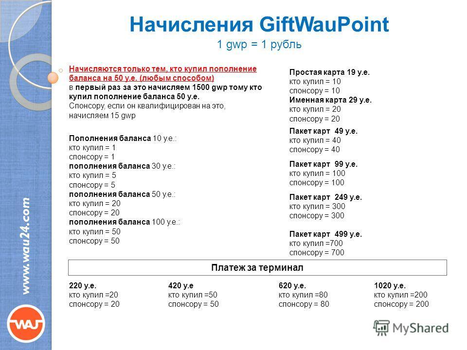 Начисления GiftWauPoint 1 gwp = 1 рубль www.wau24.com Начисляются только тем, кто купил пополнение баланса на 50 у.е. (любым способом) в первый раз за это начисляем 1500 gwp тому кто купил пополнение баланса 50 у.е. Спонсору, если он квалифицирован н