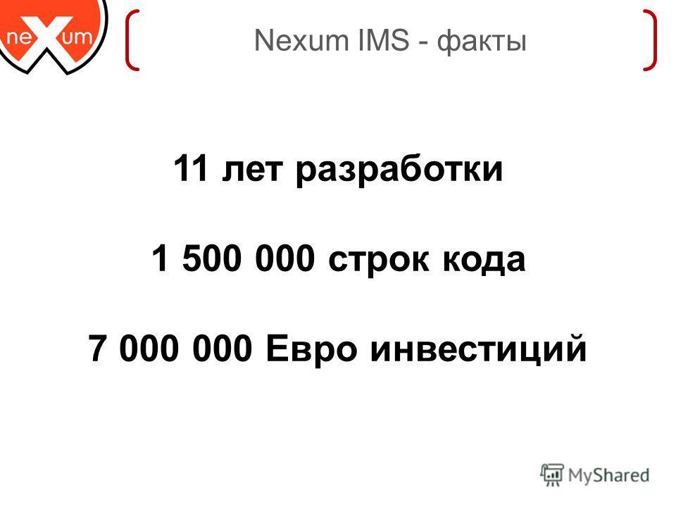 Nexum IMS - факты 11 лет разработки 1 500 000 строк кода 7 000 000 Евро инвестиций