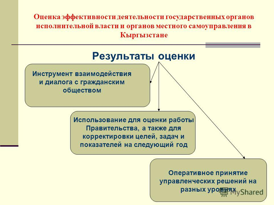 Результаты оценки Оценка эффективности деятельности государственных органов исполнительной власти и органов местного самоуправления в Кыргызстане Инструмент взаимодействия и диалога с гражданским обществом Использование для оценки работы Правительств