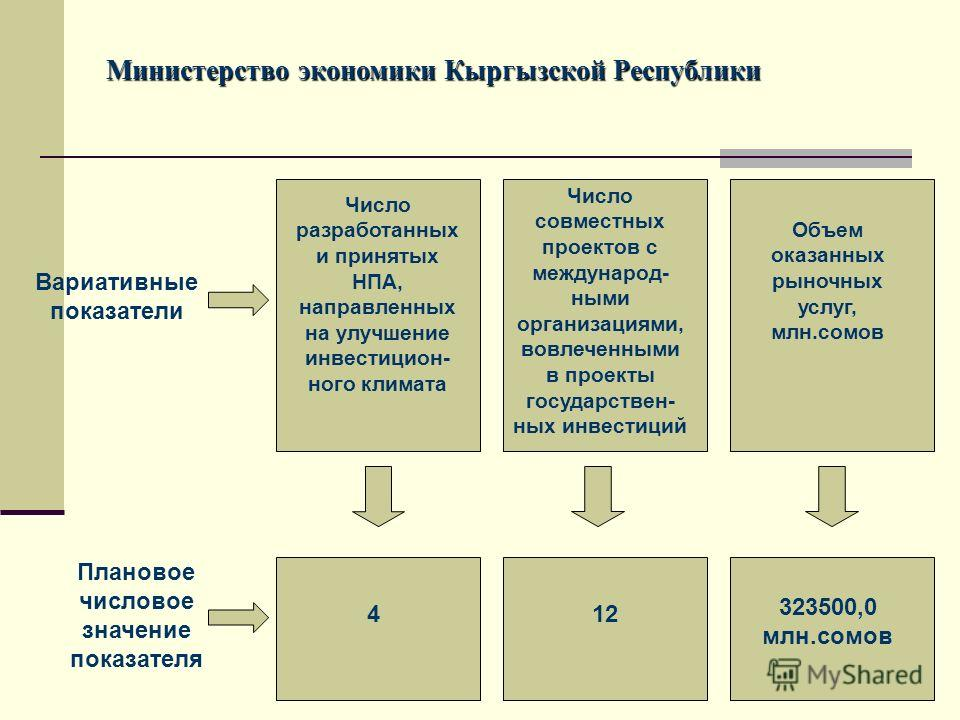Министерство экономики Кыргызской Республики Вариативные показатели Число разработанных и принятых НПА, направленных на улучшение инвестицион- ного климата Число совместных проектов с международ- ными организациями, вовлеченными в проекты государстве