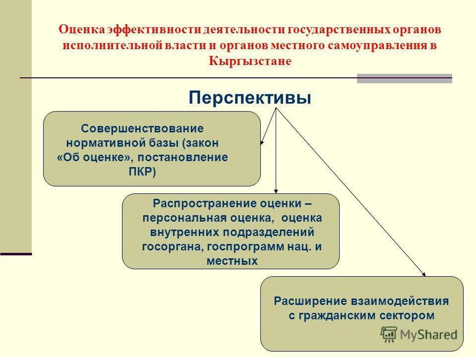 Перспективы Оценка эффективности деятельности государственных органов исполнительной власти и органов местного самоуправления в Кыргызстане Совершенствование нормативной базы (закон «Об оценке», постановление ПКР) Распространение оценки – персональна