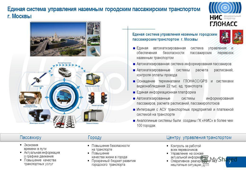 7 Единая система управления наземным городским пассажирским транспортом г. Москвы Единая автоматизированная система управления и обеспечения безопасности пассажирских перевозок наземным транспортом Автоматизированная система информирования пассажиров