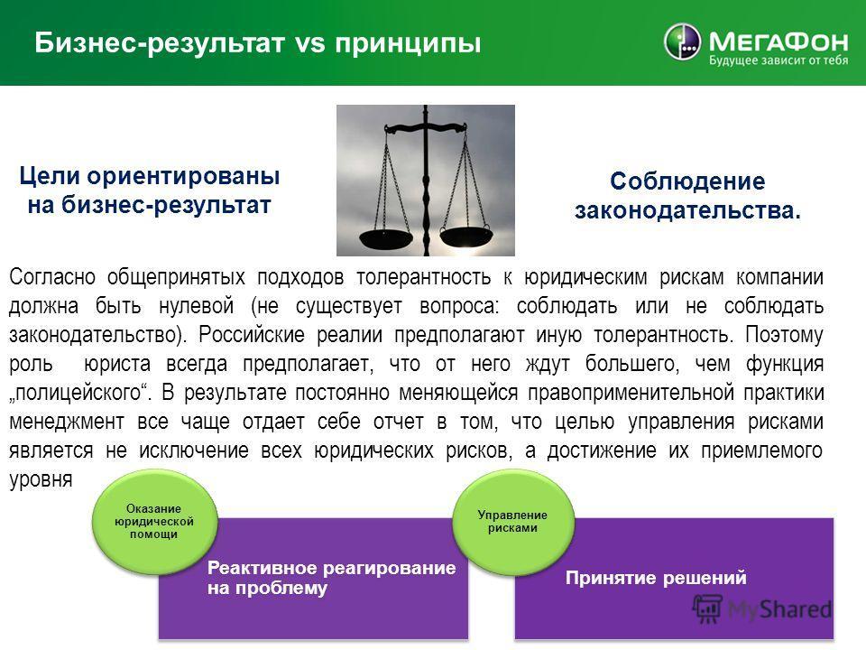 Бизнес-результат vs принципы Цели ориентированы на бизнес-результат Соблюдение законодательства. Согласно общепринятых подходов толерантность к юридическим рискам компании должна быть нулевой (не существует вопроса: соблюдать или не соблюдать законод