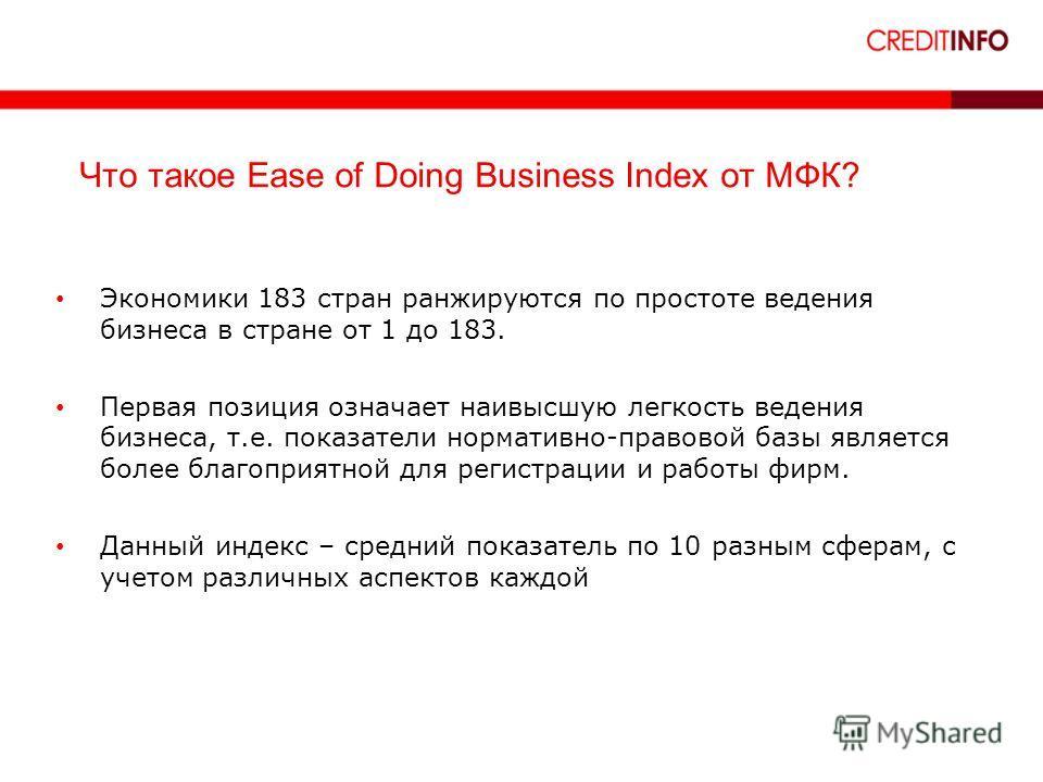 13 Что такое Ease of Doing Business Index от МФК? Экономики 183 стран ранжируются по простоте ведения бизнеса в стране от 1 до 183. Первая позиция означает наивысшую легкость ведения бизнеса, т.е. показатели нормативно-правовой базы является более бл