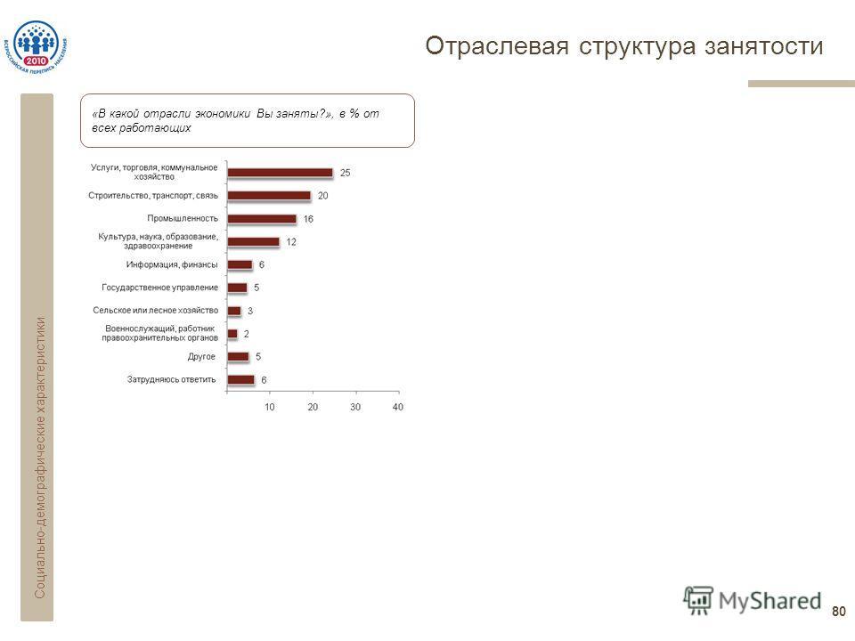 Отраслевая структура занятости 80 «В какой отрасли экономики Вы заняты?», в % от всех работающих Социально-демографические характеристики