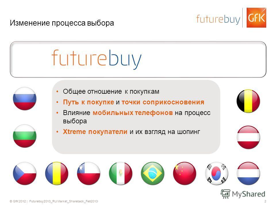 © GfK 2012 | Futurebuy2013_RU Market_Shareback_Feb20132 Изменение процесса выбора Общее отношение к покупкам Путь к покупке и точки соприкосновения Влияние мобильных телефонов на процесс выбора Xtreme покупатели и их взгляд на шопинг