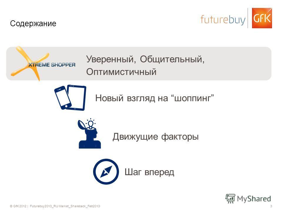 © GfK 2012 | Futurebuy2013_RU Market_Shareback_Feb20133 Содержание Уверенный, Общительный, Оптимистичный Новый взгляд на шоппинг Движущие факторы Шаг вперед