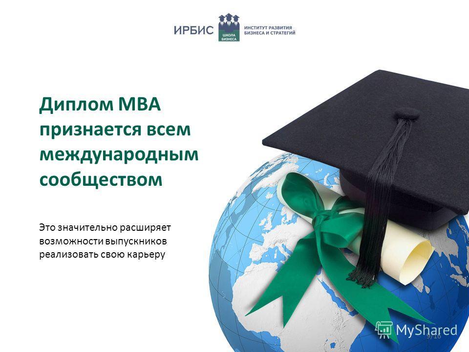 Диплом МВА признается всем международным сообществом Это значительно расширяет возможности выпускников реализовать свою карьеру 9/16