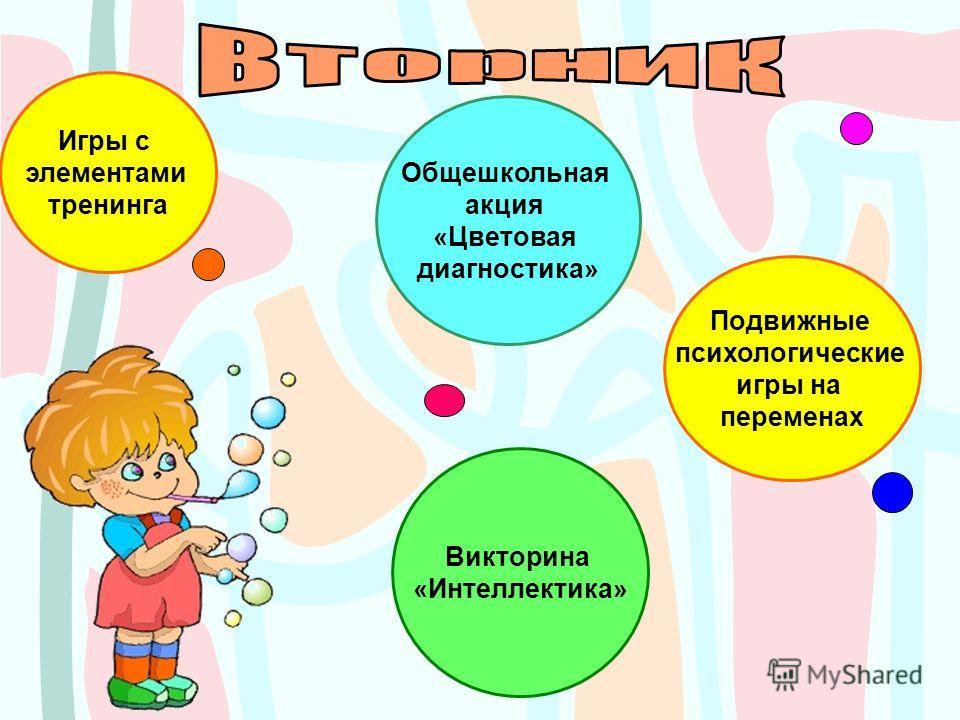 Игры с элементами тренинга Викторина «Интеллектика» Общешкольная акция «Цветовая диагностика» Подвижные психологические игры на переменах