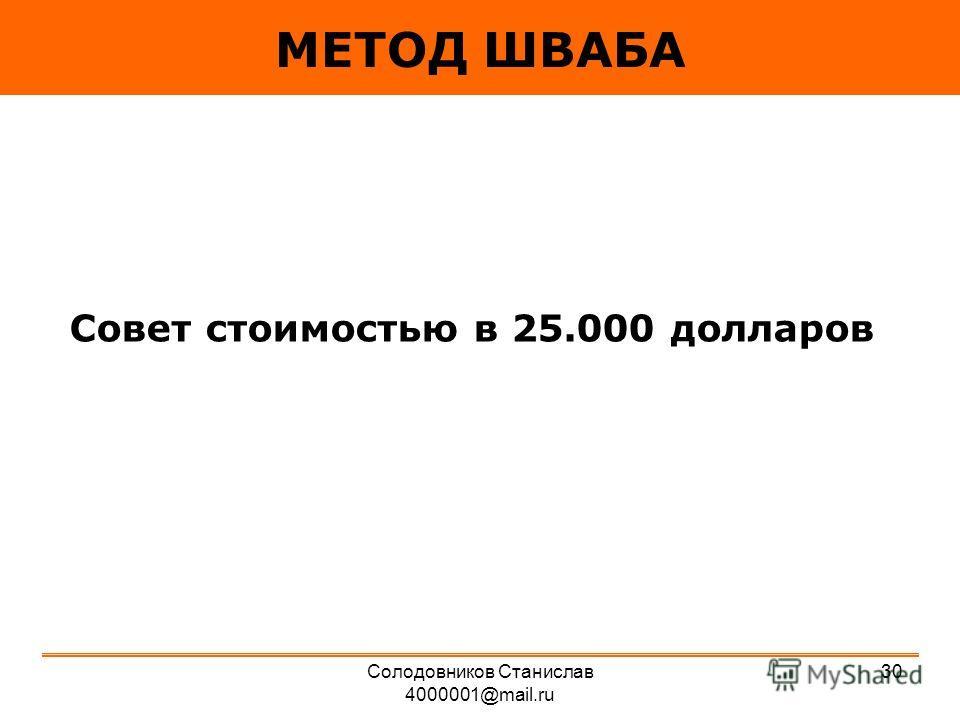 МЕТОД ШВАБА Совет стоимостью в 25.000 долларов 30Солодовников Станислав 4000001@mail.ru