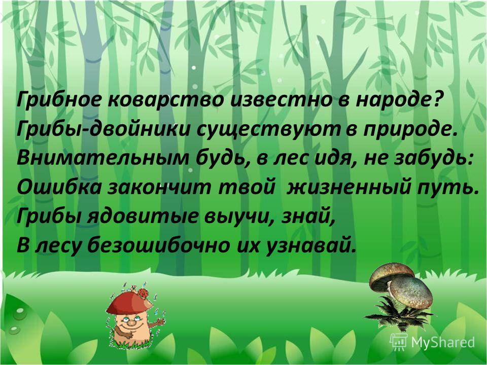 Грибное коварство известно в народе? Грибы-двойники существуют в природе. Внимательным будь, в лес идя, не забудь: Ошибка закончит твой жизненный путь. Грибы ядовитые выучи, знай, В лесу безошибочно их узнавай.