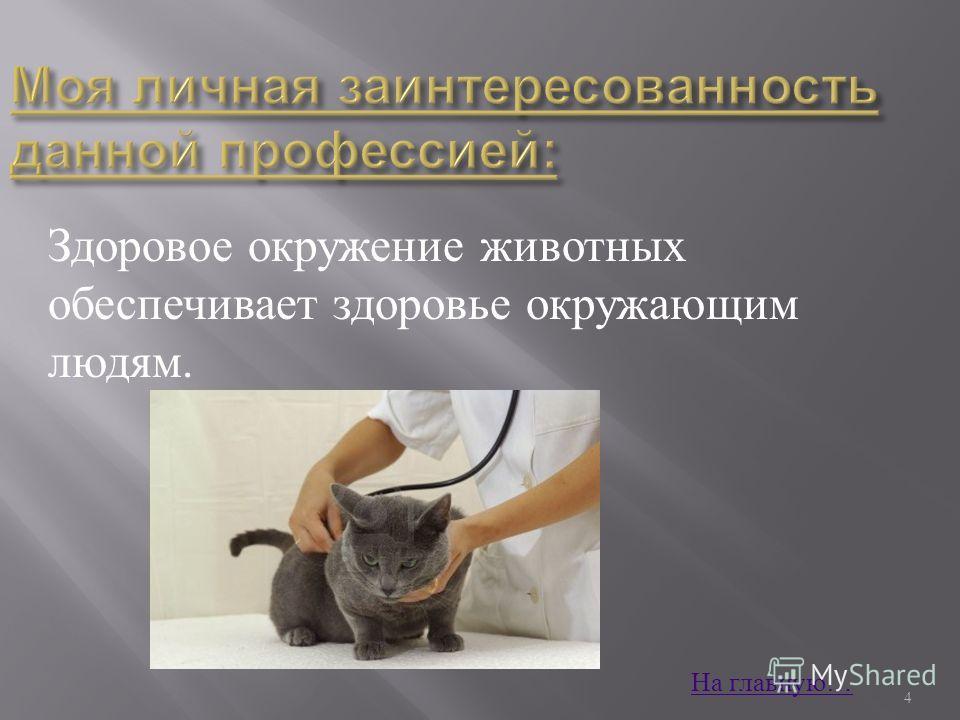 Здоровое окружение животных обеспечивает здоровье окружающим людям. 4 На главную …