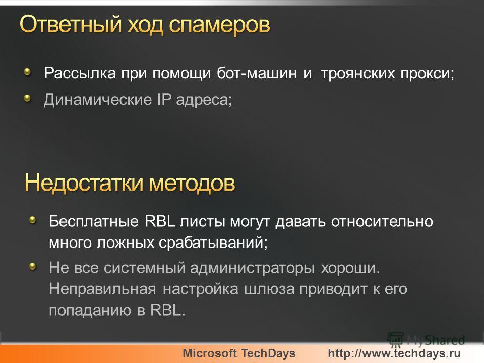 Microsoft TechDayshttp://www.techdays.ru Рассылка при помощи бот-машин и троянских прокси; Динамические IP адреса; Бесплатные RBL листы могут давать относительно много ложных срабатываний; Не все системный администраторы хороши. Неправильная настройк