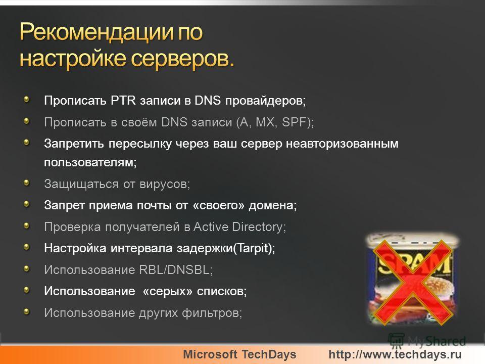 Microsoft TechDayshttp://www.techdays.ru Прописать PTR записи в DNS провайдеров; Прописать в своём DNS записи (A, MX, SPF); Запретить пересылку через ваш сервер неавторизованным пользователям; Защищаться от вирусов; Запрет приема почты от «своего» до