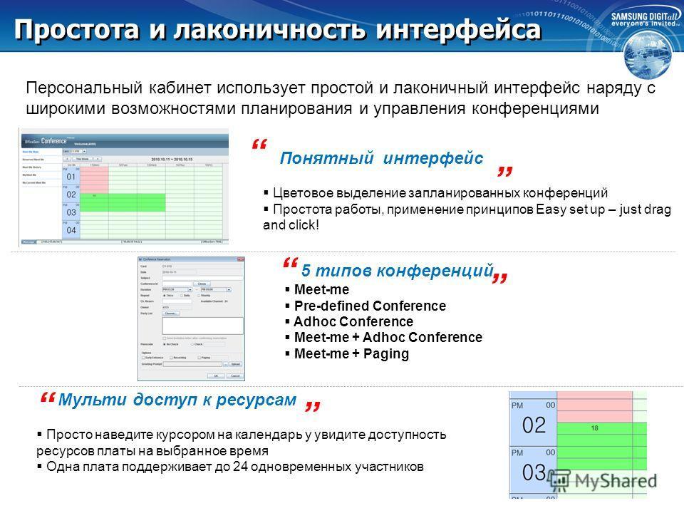 Samsung OfficeServ Конференц-Мост Поддержка до 24 одновременных участников конференции Web-based персональный доступ у каждого внутреннего абонента есть свой личный кабинет где можно планировать, управлять, записывать проводимые конференции. А также