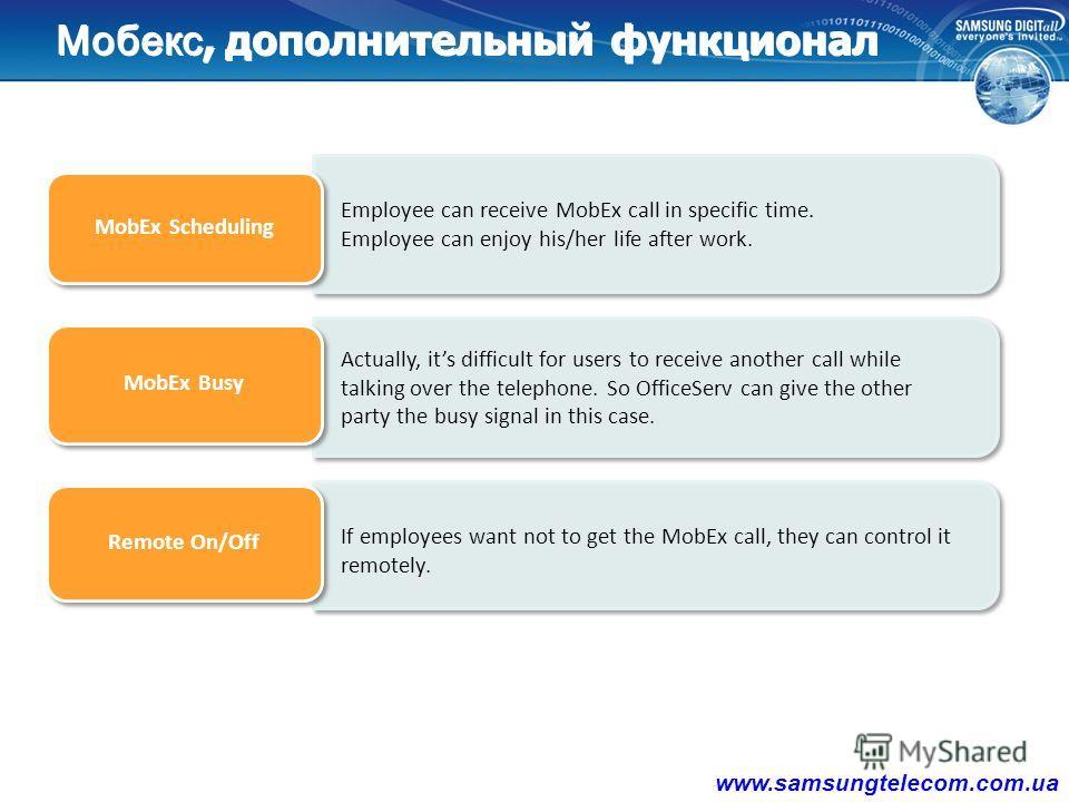 Увеличивайте продуктивность Ваших сотрудников Отличие от обычного Call Forwarding - Синхронизация входящего звонка как на внутреннем аппарате так и на мобильном устройстве - Поддержка внутреннего функционала АТС такого как - Transfer, Forward, DND, C