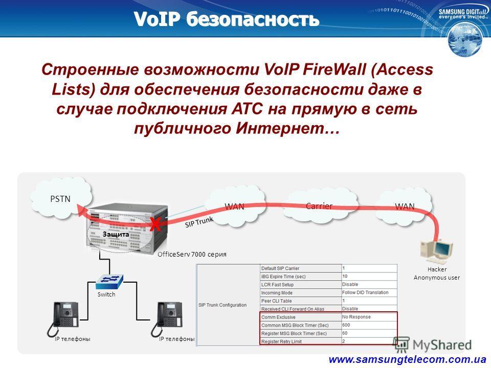 OfficeServ 7000 серия IP Phone Switch IP Phone WAN Email G/W Voice Mail Public Mail Server User PC Attached Voice Mail SSL / TLS E-Mail шифрование Alarm уведомлений Ваши данные всегда будут надёжно зашифрованы даже в случае применяя публичных почтовы