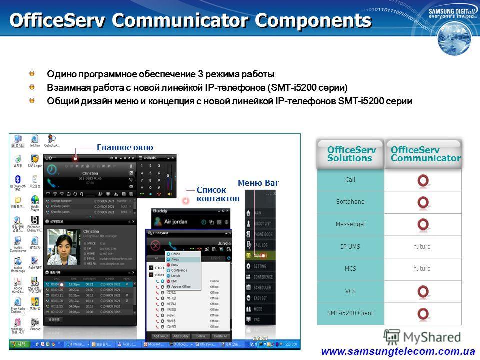 OS Easy Set OS Call OS Messenger OS Communicator совмещает функционал: OS Softphone Видео Вызов OS Communicator
