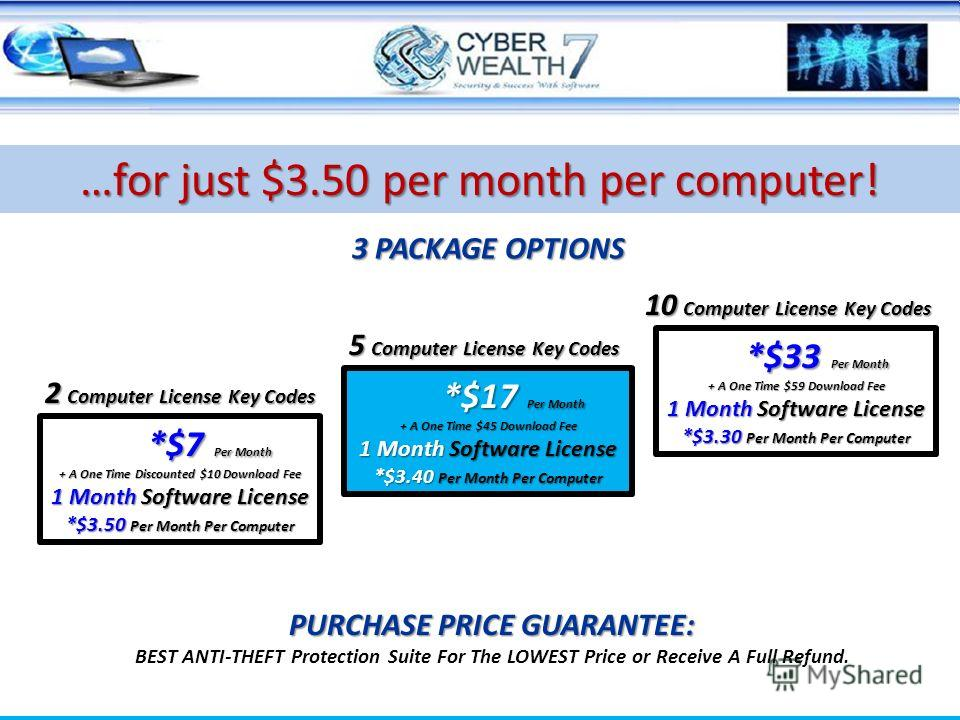 3 PACKAGE OPTIONS PURCHASE PRICE GUARANTEE: BEST ANTI-THEFT Protection Suite For The LOWEST Price or Receive A Full Refund. …for just $3.50 per month per computer! 2 Computer License Key Codes 5 Computer License Key Codes 10 Computer License Key Code