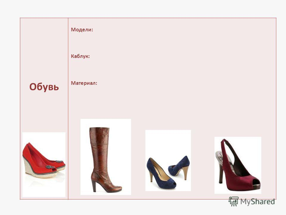 Обувь Модели: Каблук: Материал: