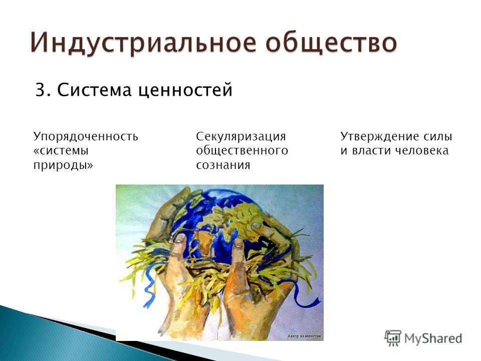 3. Система ценностей Упорядоченность «системы природы» Секуляризация общественного сознания Утверждение силы и власти человека