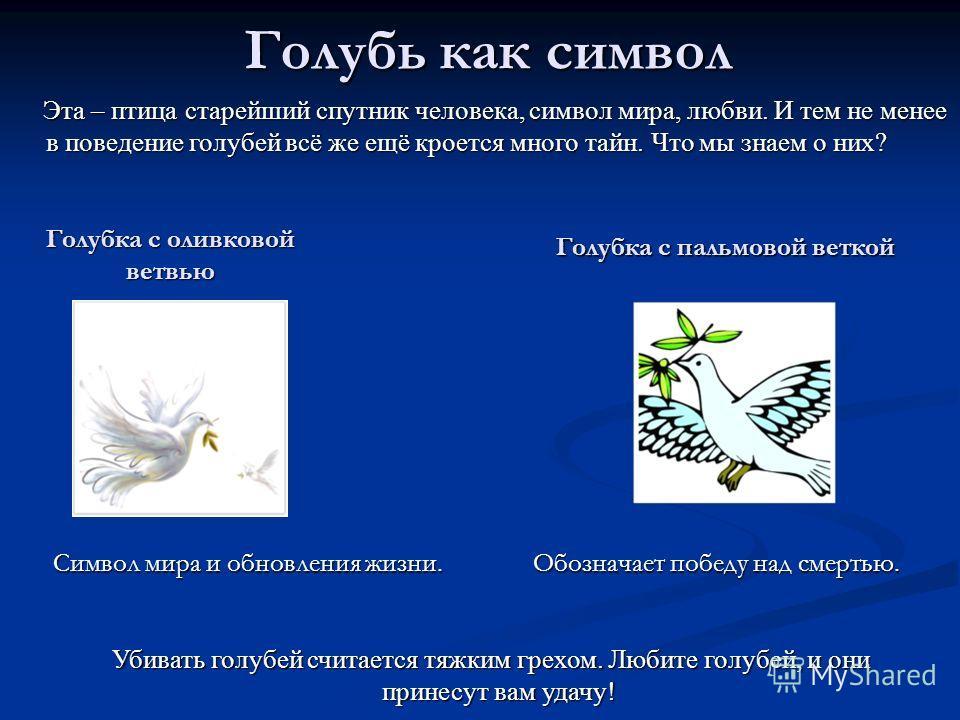Голубка с оливковой ветвью Символ мира и обновления жизни. Символ мира и обновления жизни. Голубка с пальмовой веткой Обозначает победу над смертью. Обозначает победу над смертью. Убивать голубей считается тяжким грехом. Любите голубей, и они принесу