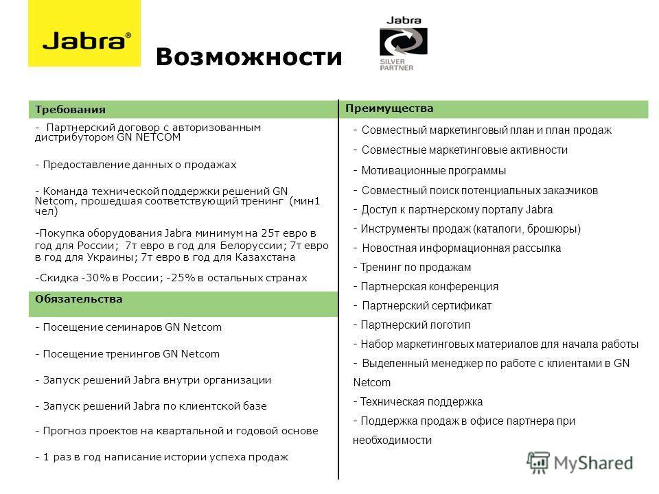 Требования Преимущества - Партнерский договор с авторизованным дистрибутором GN NETCOM - Предоставление данных о продажах - Команда технической поддержки решений GN Netcom, прошедшая соответствующий тренинг (мин1 чел) -Покупка оборудования Jabra мини