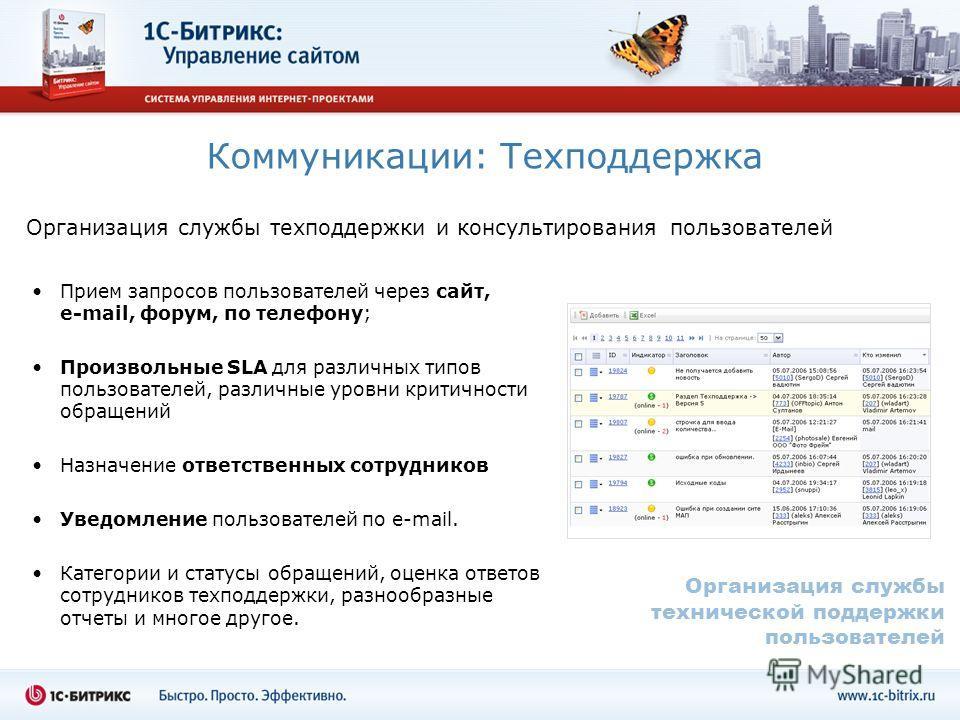 Коммуникации: Техподдержка Организация службы техподдержки и консультирования пользователей Прием запросов пользователей через сайт, e-mail, форум, по телефону; Произвольные SLA для различных типов пользователей, различные уровни критичности обращени