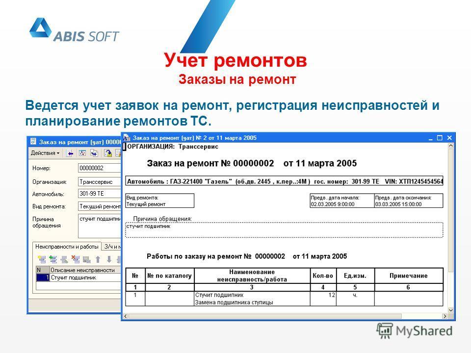 Учет ремонтов Заказы на ремонт Ведется учет заявок на ремонт, регистрация неисправностей и планирование ремонтов ТС.