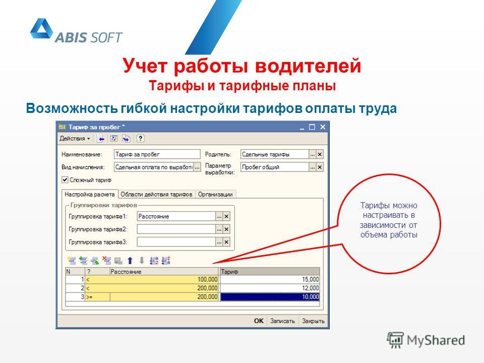 Учет работы водителей Тарифы и тарифные планы Возможность гибкой настройки тарифов оплаты труда Тарифы можно настраивать в зависимости от объема работы