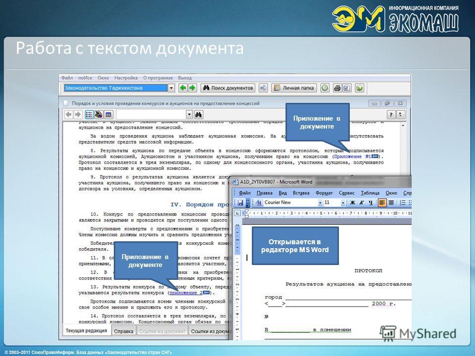 Работа с текстом документа Приложение в документе Открывается в редакторе MS Word