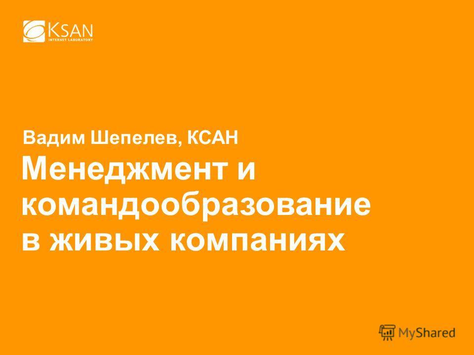 Вадим Шепелев, КСАН Менеджмент и командообразование в живых компаниях