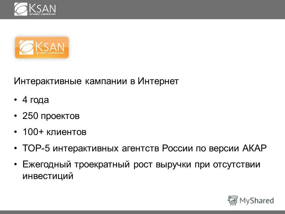 Интерактивные кампании в Интернет 4 года 250 проектов 100+ клиентов TOP-5 интерактивных агентств России по версии АКАР Ежегодный троекратный рост выручки при отсутствии инвестиций