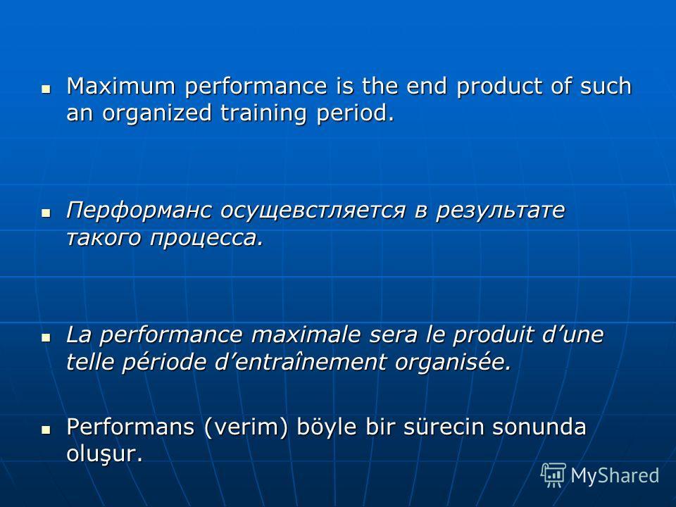 Maximum performance is the end product of such an organized training period. Maximum performance is the end product of such an organized training period. Перформанс осущевстляется в результате такого процесса. Перформанс осущевстляется в результате т