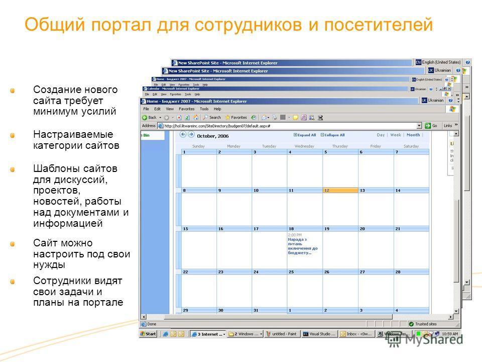 Общий портал для сотрудников и посетителей Создание нового сайта требует минимум усилий Шаблоны сайтов для дискуссий, проектов, новостей, работы над документами и информацией Настраиваемые категории сайтов Сайт можно настроить под свои нужды Сотрудни