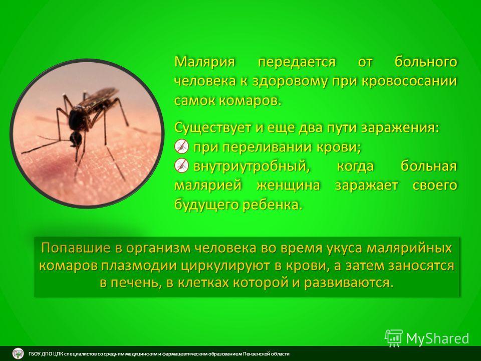 Малярия передается от больного человека к здоровому при кровососании самок комаров. Существует и еще два пути заражения: при переливании крови; внутриутробный, когда больная малярией женщина заражает своего будущего ребенка. Малярия передается от бол