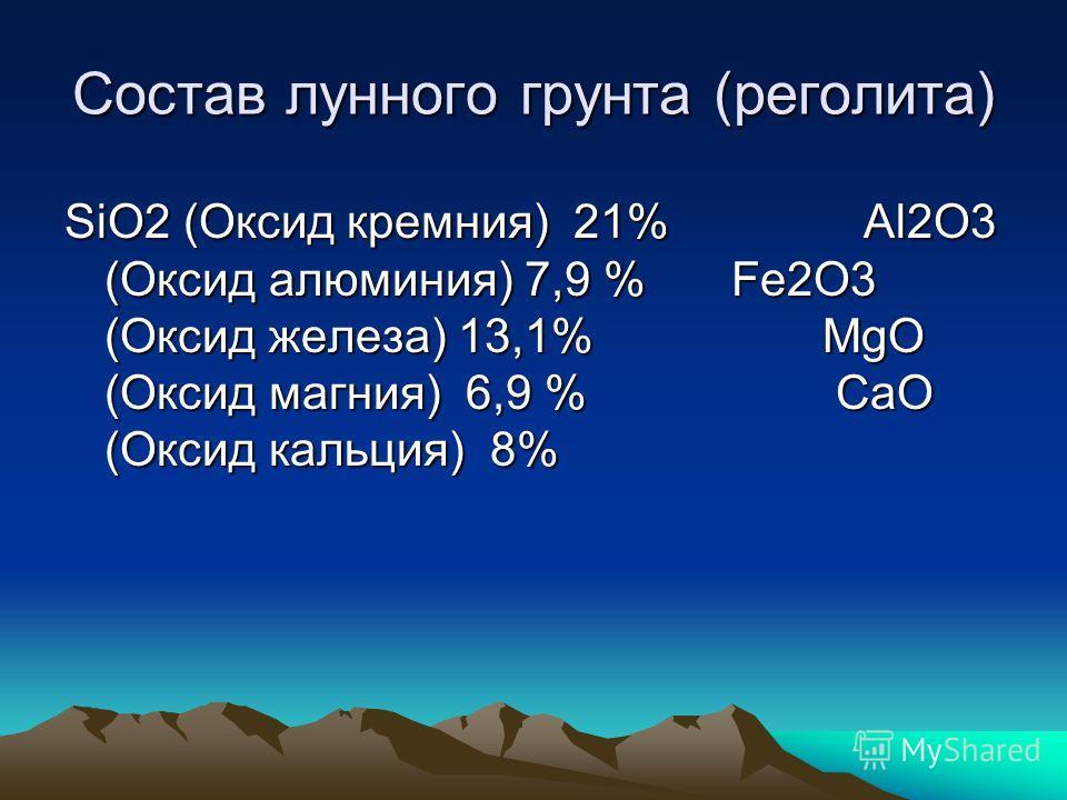 Состав лунного грунта (реголита) SiO2 (Оксид кремния) 21% Al2O3 (Оксид алюминия) 7,9 % Fe2O3 (Оксид железа) 13,1% MgO (Оксид магния) 6,9 % CaO (Оксид кальция) 8%