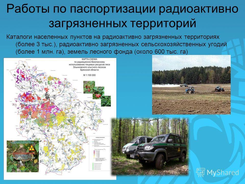 Работы по паспортизации радиоактивно загрязненных территорий Каталоги населенных пунктов на радиоактивно загрязненных территориях (более 3 тыс.), радиоактивно загрязненных сельскохозяйственных угодий (более 1 млн. га), земель лесного фонда (около 600