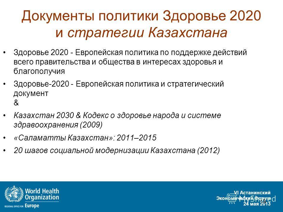 VI Астанинский Экономический Форум 24 мая 2013 19 Документы политики Здоровье 2020 и стратегии Казахстана Здоровье 2020 - Европейская политика по поддержке действий всего правительства и общества в интересах здоровья и благополучия Здоровье-2020 - Ев
