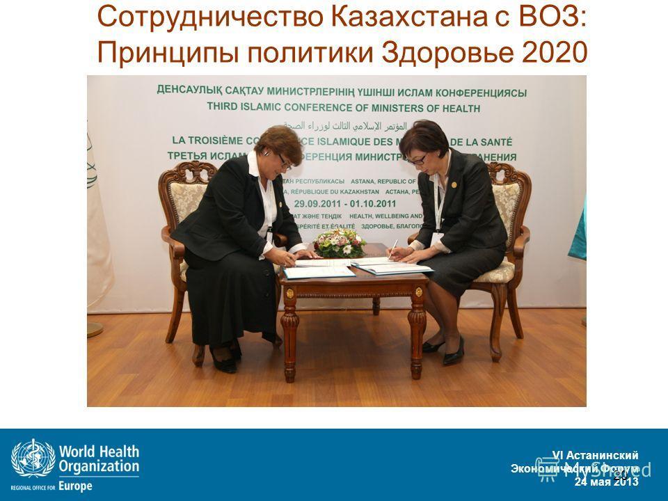 VI Астанинский Экономический Форум 24 мая 2013 20 Сотрудничество Казахстана с ВОЗ: Принципы политики Здоровье 2020