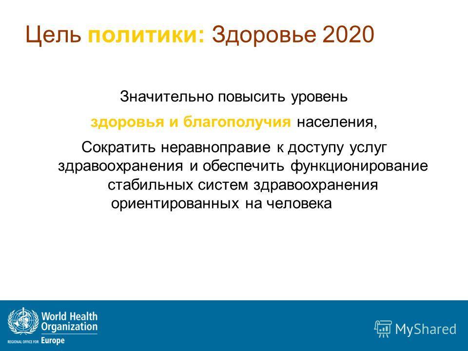 Цель политики: Здоровье 2020 Значительно повысить уровень здоровья и благополучия населения, Сократить неравноправие к доступу услуг здравоохранения и обеспечить функционирование стабильных систем здравоохранения ориентированных на человека