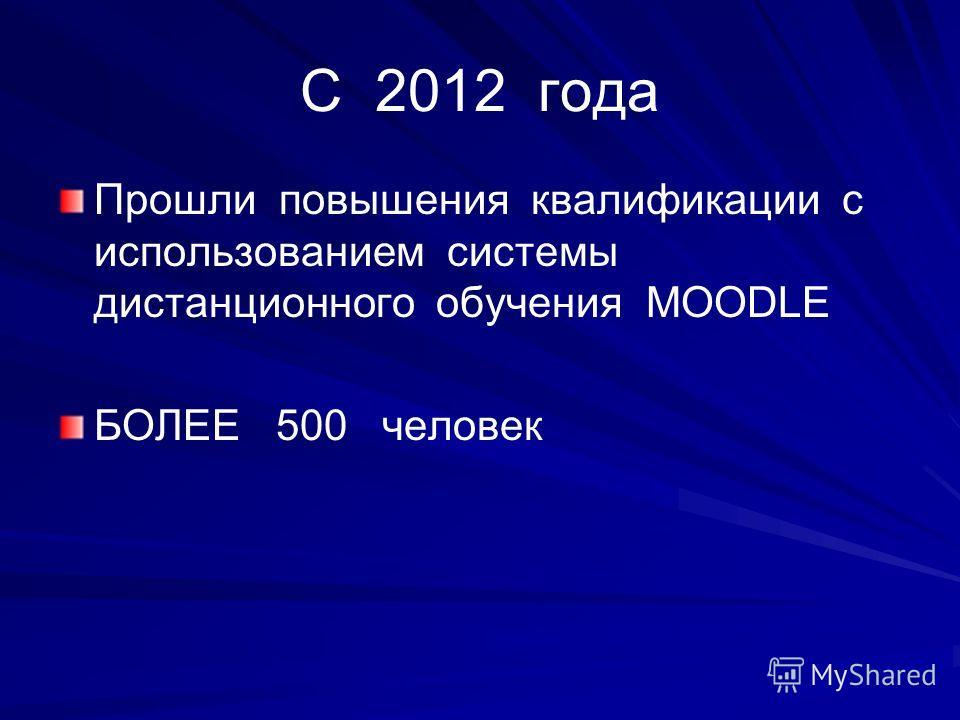 С 2012 года Прошли повышения квалификации с использованием системы дистанционного обучения MOODLE БОЛЕЕ 500 человек